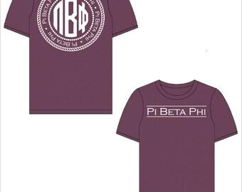 Pi Beta Phi // Pi Phi //  Sorority Comfort Color Short Sleeve Signature Tshirt // Choose Your Color