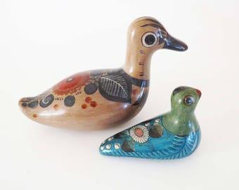 """Vintage TONALA MEXICO Bird FIGURINES / Ceramic Folk Art Pottery, marked made in Mexico / 7.5"""" & 4"""" Long / Tonala Folk Art - Great Gift Idea"""