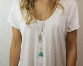 RAW TURQUOISE SLICE Necklace // Turquoise Stone Pendant on Simple Long Necklace // Long Turquoise Necklace // Extra long necklace option