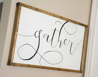Gather Wood Sign Custom Made Home Decor, Kitchen Sign, Gallery Wall, Framed Gather Sign, Kitchen Decor, Dining Room Sign