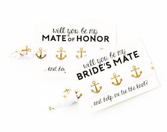 Nautical Bridesmaid Proposal Hair Tie Gift | White + Gold Anchor Hair Ties, Nautical Wedding Hair Tie Favor, Mate of Honor, Bride's Mate