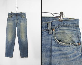 Vintage Levi's Jeans Faded Denim Distressed Red Tab Made in USA - Size 34 x 34