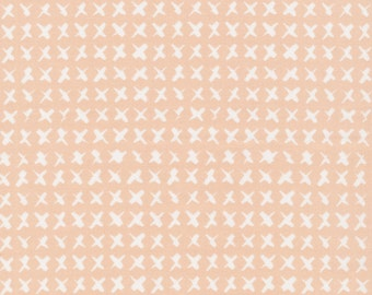 "END of BOLT, Clearance Sale, 1 Yard Cut, Cloud9 Cross Stitch PINK ""Around the Block"" by Skinny LaMinx 100% Organic Quilting Cotton"