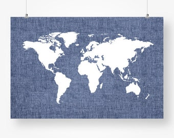 World map pdf poster etsy large map of the world map poster navy blue boys room living room wall art decor gumiabroncs Image collections