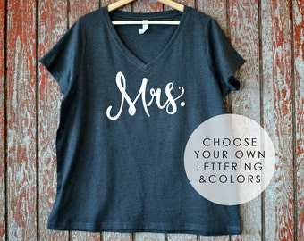 Mrs. Plus Size V-Neck T-Shirt (Sizes 14 to 28), Honeymoon Shirt, Fiance shirt, Wifey, Bridal Shower Gift, Bride To Be, Gift for Bride, I Do