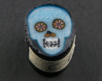Bleu Skull par Greg Chase Murrine Boro canne 6 grammes - 144 C