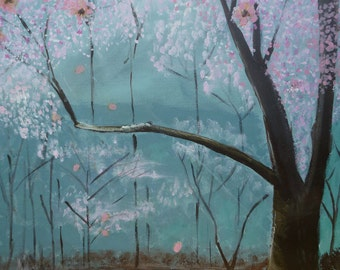 Cherry Blossoms....(acrylic painting with real dried cherry blossoms) Original artwork