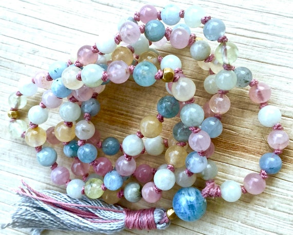 HEAL THE HEART Mala Beads Aquamarine Necklace Aquamarine Mala Knotted Tassel Necklace March Birthstone Healing Gemstones Heart Chakra Beads