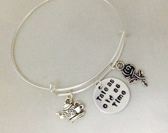 Tale As Old As Time Disney Inspired Beauty And The Beast Hand Stamped Bangle Bracelet