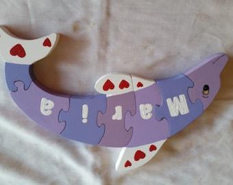 name puzzle, wooden puzzle, child's puzzle, wood puzzle, animal puzzle. dolphin puzzle, baby puzzle, personalized puzzle, kid's puzzle