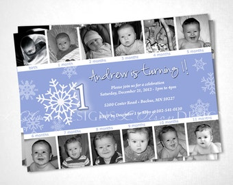 Snowflake Winter ONEderland Birthday Invitation - DIY printable