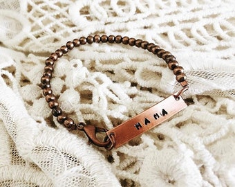 The Nametag Bracelet - Hand Hammered, stamped copper bracelet - with copper beads - Personalize for yourself, friends and family