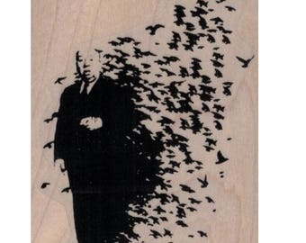 Rubber stamp Banksy  Alfred Hitchcock Birds     stamping graffiti outsider art play  craft supplies number  20078