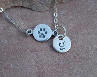 Personalized paw print necklace, paw print with hand stamped letter, dog lovers necklace