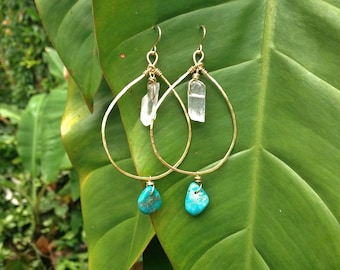Turquoise and Raw Crystal Teardrop Gold Hoops, Hammered Earrings, 14 K Gold Earrings