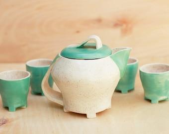 Art Deco Art Pottery Tea Set Hand Thrown and Painted Aqua Arts & Crafts Period Unique One of a Kind Set