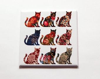Cat Magnet, Kitchen Magnet, gift for cat lover, cat, Cat Lover, stocking stuffer, Floral, Cats, Feline, Fridge magnet, calico cat (7108)