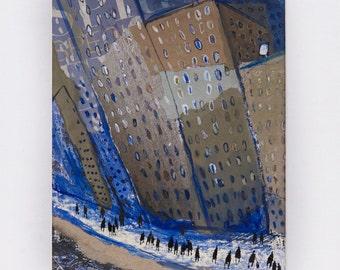 On the New York City Street - Art, Collage,Original painting, Manhattan,Street,sepia, brown,blue