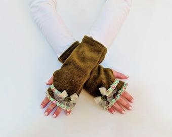 Unique Fingerless Gloves, Fingerless Mittens, Galentines Day Gift, Birthday Gift for Her, Olive Green Fleece Wrist Warmers, Half Finger Mitt
