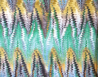 Soft Turquoise, Green and Gold Chevron Snake Print Polyester Spandex Jersey Knit Fabric by the Yard