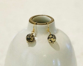 Dragon Vein Agate Earrings - Silver or Gold