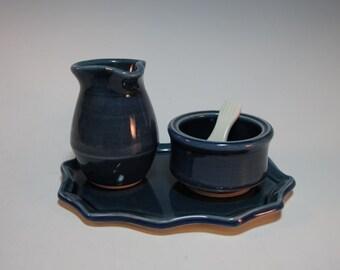 Creamer and Sugar Splenda Breakfast Tray Set with Tray and Spoon - Small - Navy Blue - Gift Set - Handmade pottery
