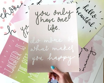 one life-wall art-home decor-wall hanging-office decor-typography-print-motivational quote-pink-happy-lettering-gift for friend-print-poster