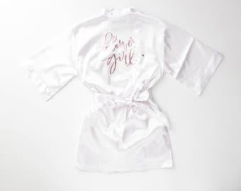 Flower girl silk robe | little girl robe | youth robe | flower girl gift | bridal party robes | getting ready robe | cute robe