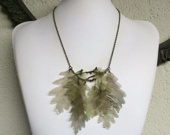 Oak Tree - Handmade Silk Organza Green Leaves on Branch Necklace, Boho Necklace, Statement Necklace, Nature Necklace, One of a Kind