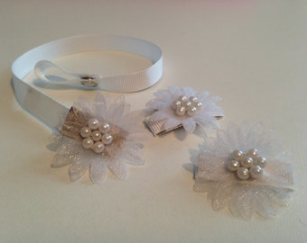 White  organza flower  dummy clip & hair clips set