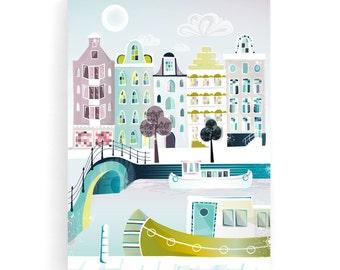 Amsterdam Wall Art Canvas, Amsterdam Canal Boat, Cityscape, Amsterdam print, Travel poster, Amsterdam skyline, Wedding gift, Valentines gift