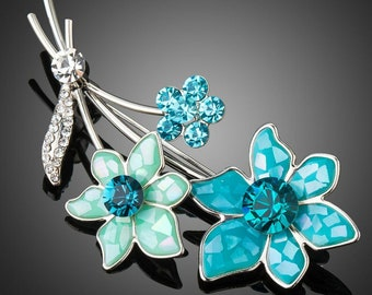 Sky Blue Crystal Flower Brooch Pin