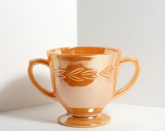 Vintage Fire King Peach Lustre Lusterware Sugar Bowl