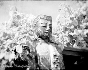 Buddha Statue Photos, Zen stone sculpture photos, black & white, still life Buddha wall art, Unique wall decor, 8x12 Grunge Fine Art Photos