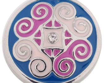 1 PC - 18MM Pink Blue Enamel Silver Charm for Snap Jewelry KC9700 CC3820