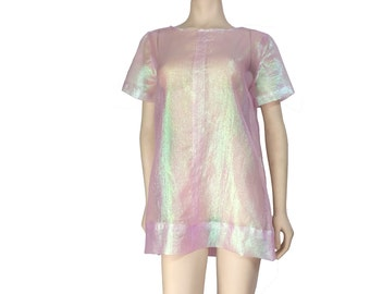 Handmade Mod Iridescent Sheer Pearlescent Mini Dress // XS-XL