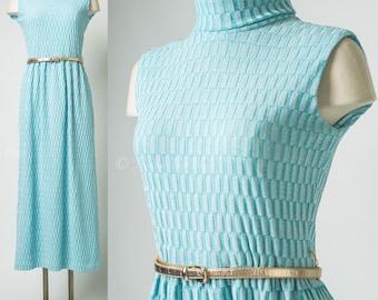 Blue Maxi Dress, Mod Dress, Mad Men Dress, Vintage Maxi Dress, Vintage Blue Dress, 60s Maxi Dress,Sleeveless Dress,Embossed knit dress - S/M