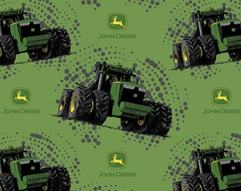 NEW John Deere Big Time Tractors Green with John Deere Logo  100% cotton Fabric by the yard (SC1083)