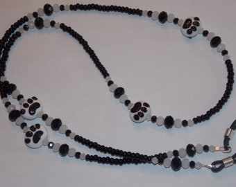 Black and White Paw Print Lampwork Beads Seed Bead Eyeglass Holder Chain