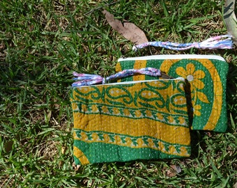 VINTAGE KANTHA POUCH coin card travel / small cosmetics toiletries bag / multi-purpose purse with tassel / yellow green Set of 2