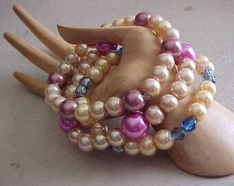 Perles ~ MIX & MATCH Bracelets extensibles ~ 3 Bracelets ~ perles de verre n' perles ~ de jolies couleurs ~ porter 1, 2 ou tous les 3 à la fois ~ Style ~ mode
