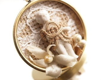 Shabby Frozen Charlotte Necklace  Frozen Charlotte Doll Necklace Assemblage Mixed Media Pendant