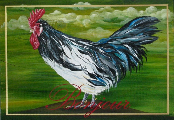 Bonjour Rooster 2, original acrylic painting on rustic solid wood board