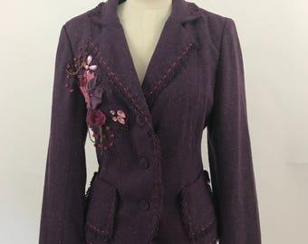 Embellished Tweed Blazer/Embellished Wool Blazer/Appliquéd Blazer/Fringed Blazer/Raw Edge Blazer
