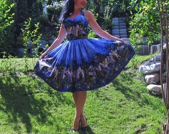 Pinup dress 'Night Fairies' Fairy Rockabilly dress, border print vintage dress, Michael Miller Fairy fabric