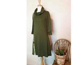 Sale Ooak XSmall Olive Dress Jersey Cotton sale Dress Japanese Obi Belt Australian Made Jersey Dress Cowl Neck Dress XSmall Green Knit Dress