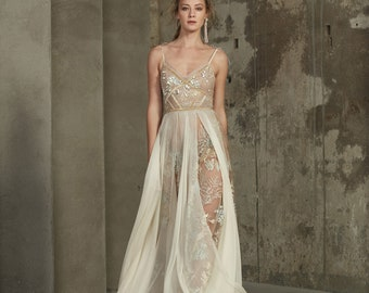 Haute couture wedding dress KALINA with long train by RARA AVIS • Luxury wedding dress • Wedding dress with long train
