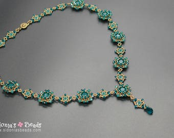 Beading Tutorial - 8mm Swarovski Chatons Necklace Tutorial -  Sweet Blooming Romance Necklace - Beading Tutorial by Sidonia