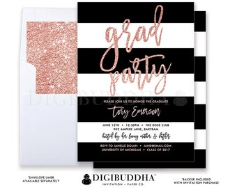 GRADUATION PARTY INVITATION College High School Rose Blush Pink Glitter Grad Party Invites Black White Stripe Announcement Cards - Tory