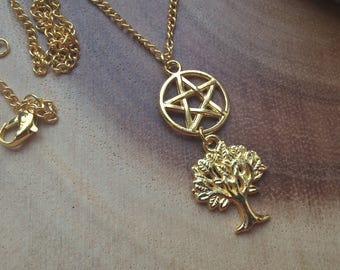 pentagram tree necklace - bright gold witchcraft jewellery, wiccan jewellery, nature pendant, tree charm necklace